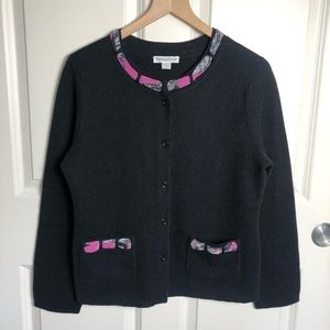 Pendleton Wool Blend Button Front Black Cardigan
